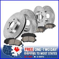 For VW Golf Jetta Rabbit Front + Rear Drill Slot Brake Rotors And Ceramic Pads