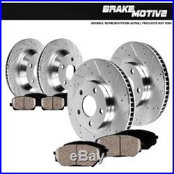 Front And Rear Drill Slot Brake Rotors And Ceramic Pads Fit 2005 2009 Legacy