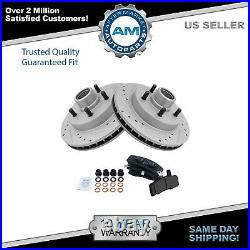 Front Ceramic Brake Pad & Performance Drilled Slotted Coated Rotors