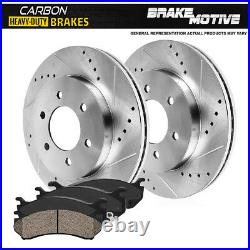 Front Drill Slot Brake Rotors & Carbon Ceramic Pads For 2WD 4WD 4X4 Chevy GMC