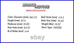 Front Drill Slot Brake Rotors Ceramic Pads For 2012 2013 2014 2015 Honda Civic