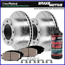 Front Drill Slot Brake Rotors Ceramic Pads For Dodge Ram 1500 2500 3500