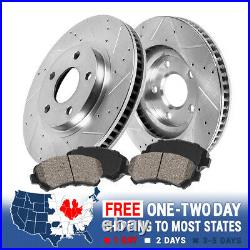 Front Drill Slot Brake Rotors & Ceramic Pads For Ford F150 1997 2004 4WD 4X4