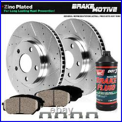 Front Drill Slot Brake Rotors & Ceramic Pads For Jeep Compass Renegade Fiat 500X