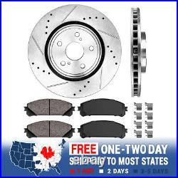 Front Drill Slot Brake Rotors & Ceramic Pads For RX350 RX450h Highlander Sienna
