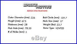 Front Kit Drilled And Slotted Brake Rotors & Ceramic Pads Dodge Durango Ram 1500