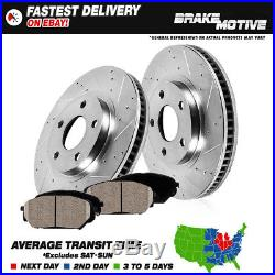 Front Kit Drilled And Slotted Brake Rotors & Ceramic Pads Dodge Ram 1500 4WD 4X4