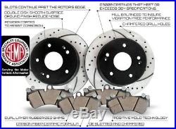 Front Kit Performance Drilled and Slotted Disc Brake Rotors With Ceramic Pads