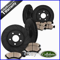 Front + Rear Black Drill Slot Brake Rotors & Ceramic Pads For 300 Charger Magnum