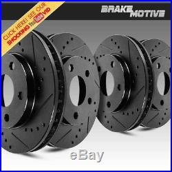 Front & Rear Black Drilled And Slotted Brake Rotors Kit Fits Infiniti Nissan