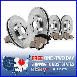 Front+Rear Drill Slot Brake Rotors And Ceramic Pads Charger 300 Challenger