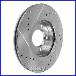 Front+Rear Drill Slot Brake Rotors And Ceramic Pads For 2011 2012 2014 Mustang
