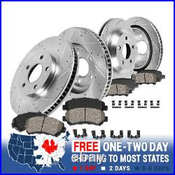 Front & Rear Drill Slot Brake Rotors And Ceramic Pads For C2 C3 Chevy Corvette