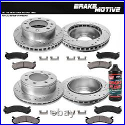 Front & Rear Drill Slot Brake Rotors And Ceramic Pads For Chevy Silverado Sierra