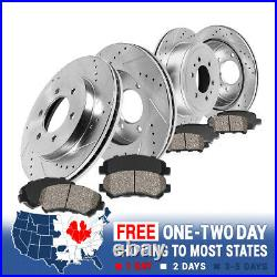 Front+Rear Drill Slot Brake Rotors And Ceramic Pads For Nissan Frontier Xterra