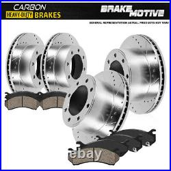 Front+Rear Drill Slot Brake Rotors + Carbon Ceramic Pads For Chevy GMC 2500 3500