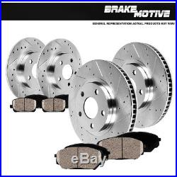Front & Rear Drill Slot Brake Rotors +Ceramic Pads 2006 2007 2008 2013 Mazda 3