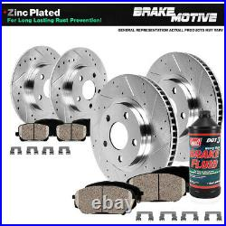 Front & Rear Drill Slot Brake Rotors & Ceramic Pads For 2002 2006 Toyota Camry