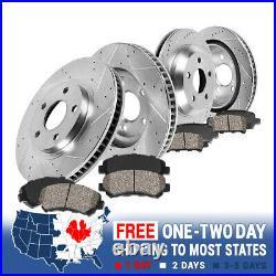 Front+Rear Drill Slot Brake Rotors Ceramic Pads For 2008 -2016 2017 Nissan Rogue
