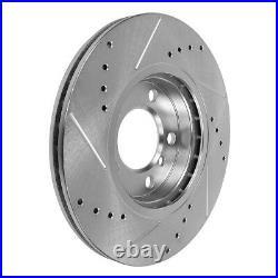 Front+Rear Drill Slot Brake Rotors +Ceramic Pads For 2012 2013 2014 VW Passat