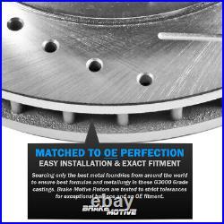Front & Rear Drill Slot Brake Rotors + Ceramic Pads For 2015 2016 Chrysler 200