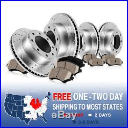 Front+Rear Drill Slot Brake Rotors & Ceramic Pads For Ford Excursion F250 F350