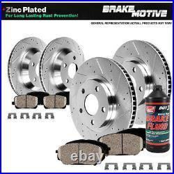 Front+Rear Drill Slot Brake Rotors & Ceramic Pads For Honda Civic