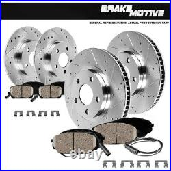 Front+Rear Drill Slot Brake Rotors & Ceramic Pads For Mercedes-Benz C250 C300