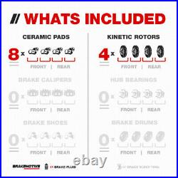 Front+Rear Drill Slot Brake Rotors & Ceramic Pads For Town & Country Caravan