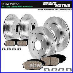 Front+Rear Drill Slot Brake Rotors and Ceramic Pads For 2015 2017 Ford F-150