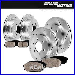 Front Rear Drilled & Slotted Brake Rotors And Pads 4Runner FJ Cruiser 2WD 4WD