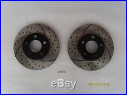 Front and Rear Brake Rotors Drilled & Slotted with Ceramic Pads Mustang 99-04