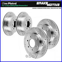 Front and Rear Drill Slot Brake Rotors For 2006 2008 2009 Chevy Trailblazer SS