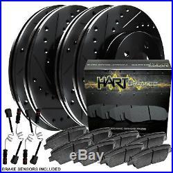 Full Kit Black Hart Drilled Slotted Brake Rotors And Ceramic Pad Bhcc. 35165.02