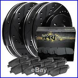 Full Kit Black Hart Drilled Slotted Brake Rotors Disc and Ceramic