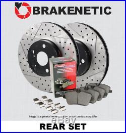 REAR BRAKENETIC PREMIUM Drill Slot Brake Rotors+POSI QUIET Ceramic Pads BPK84046