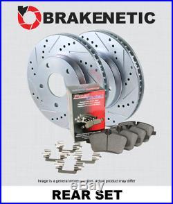 REAR BRAKENETIC SPORT Drill Slot Brake Disc Rotors + POSI QUIET Pads BSK82912