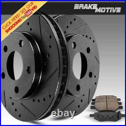 Rear Black Drill Slot Brake Rotors And Ceramic Pads For 300 Charger Magnum RWD