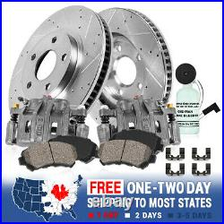 Rear Calipers + Drill Slot Rotors + Ceramic Pads For Chevy Silverado GMC Sierra
