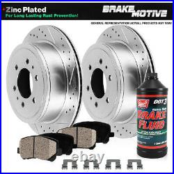 Rear Drill & Slot Brake Rotors And Ceramic Pads For Escalade Sierra Tahoe Yukon