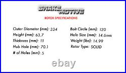 Rear Drill Slot Brake Rotors Ceramic Pads For Acura MDX ZDX Honda Odyssey Pilot