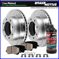 Rear Drill Slot Brake Rotors and Ceramic Pads For Excursion Ford F-250 F-350