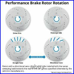 TRQ Performance Brake Rotor Drilled Slotted Coated & Ceramic Pad Front Kit