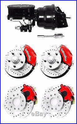 Wilwood Red Front & Rear Drilled Slotted Disc Brake Kit with Black